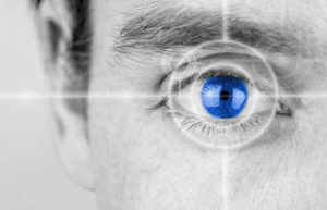 Black and white photo with blue retina