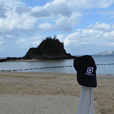 Ginsberg Eye Cap on Post at beach