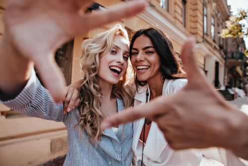 Young women smiling after LASIK
