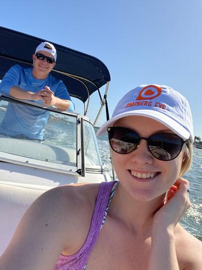 Matt Schermerhorn and Ginsberg Eye employee Jessica Schermerhorn boating Big Marco Pass