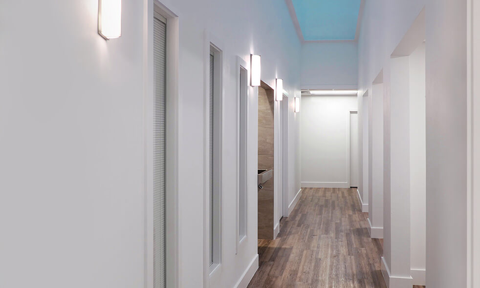Gingsberg Eye office hallway with patient rooms